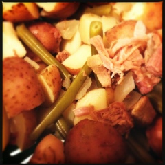 Green beans, potatoes, and ham