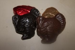 Chocolate leaves and turkeys