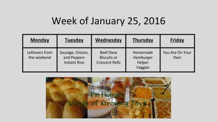 Week of January 25, 2016