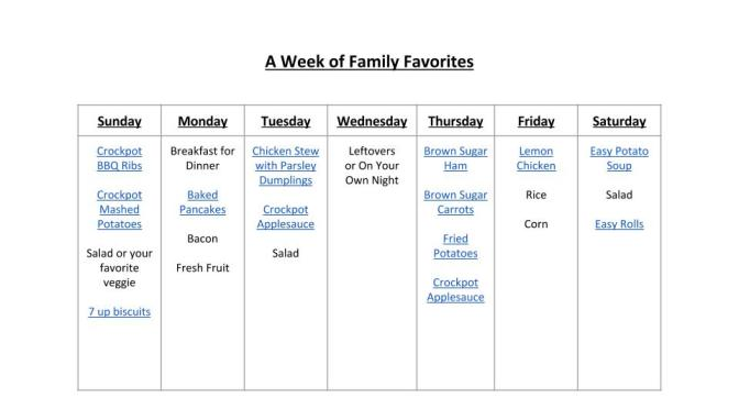 A Week of Family Favorites