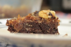 No Bake Turtle Walnut Brownies (Gluten Free, Vegan)