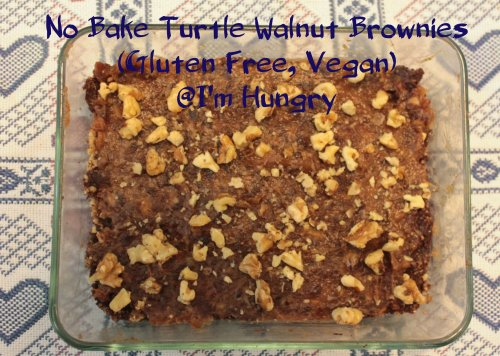 No Bake Turtle Walnut Brownies