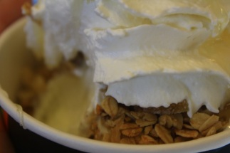 It was topped with granola, honey, and candied ginger.
