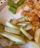 Dinner - Homemade chicken nuggets, French fries, pickles, and celery