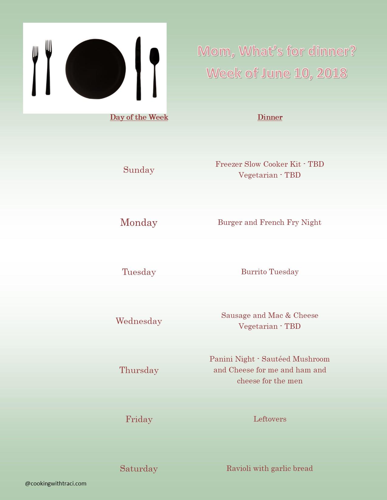 Menu Plan Monday - June 10