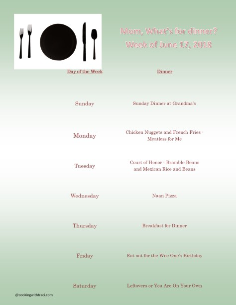 Menu Plan Monday - June 17