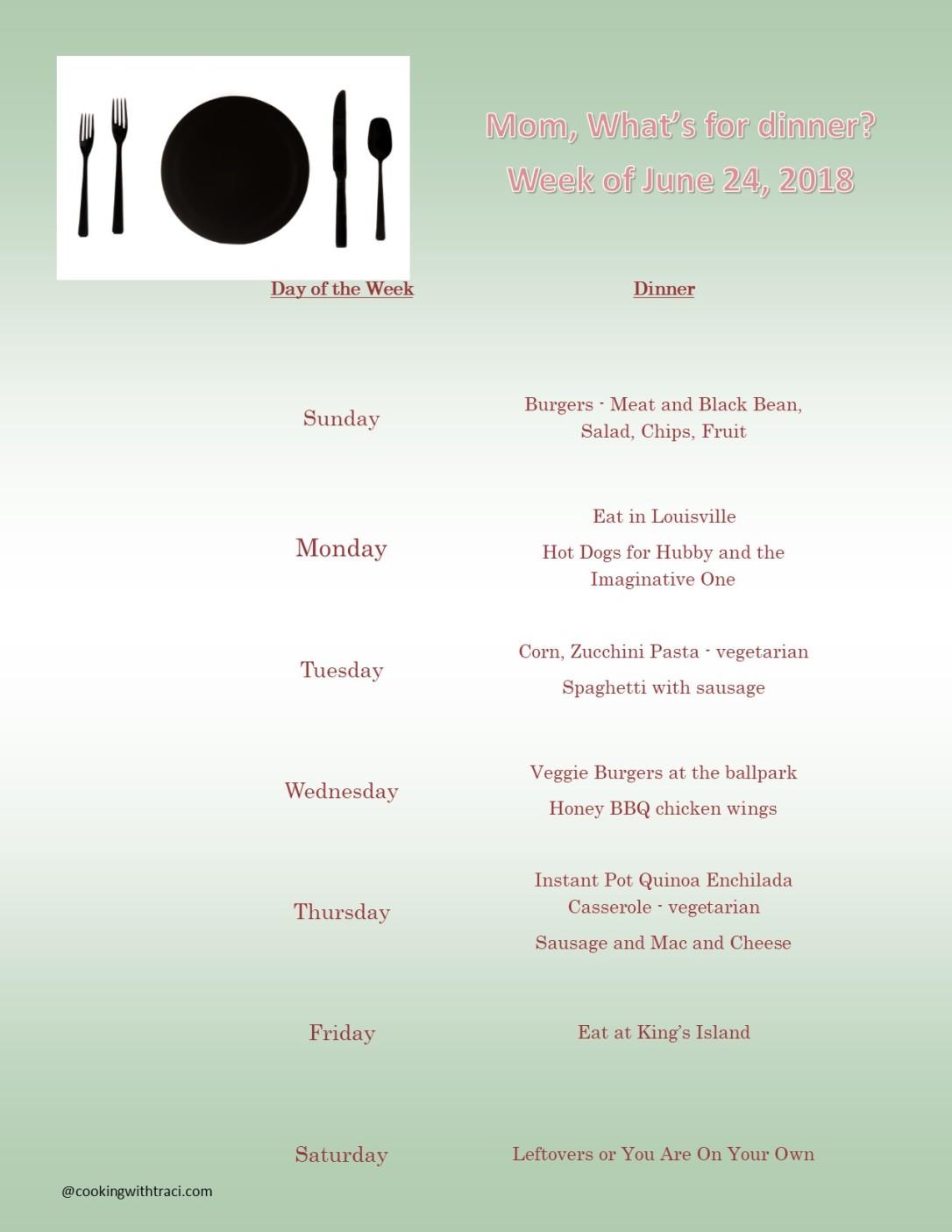 Menu Plan Monday - June 24