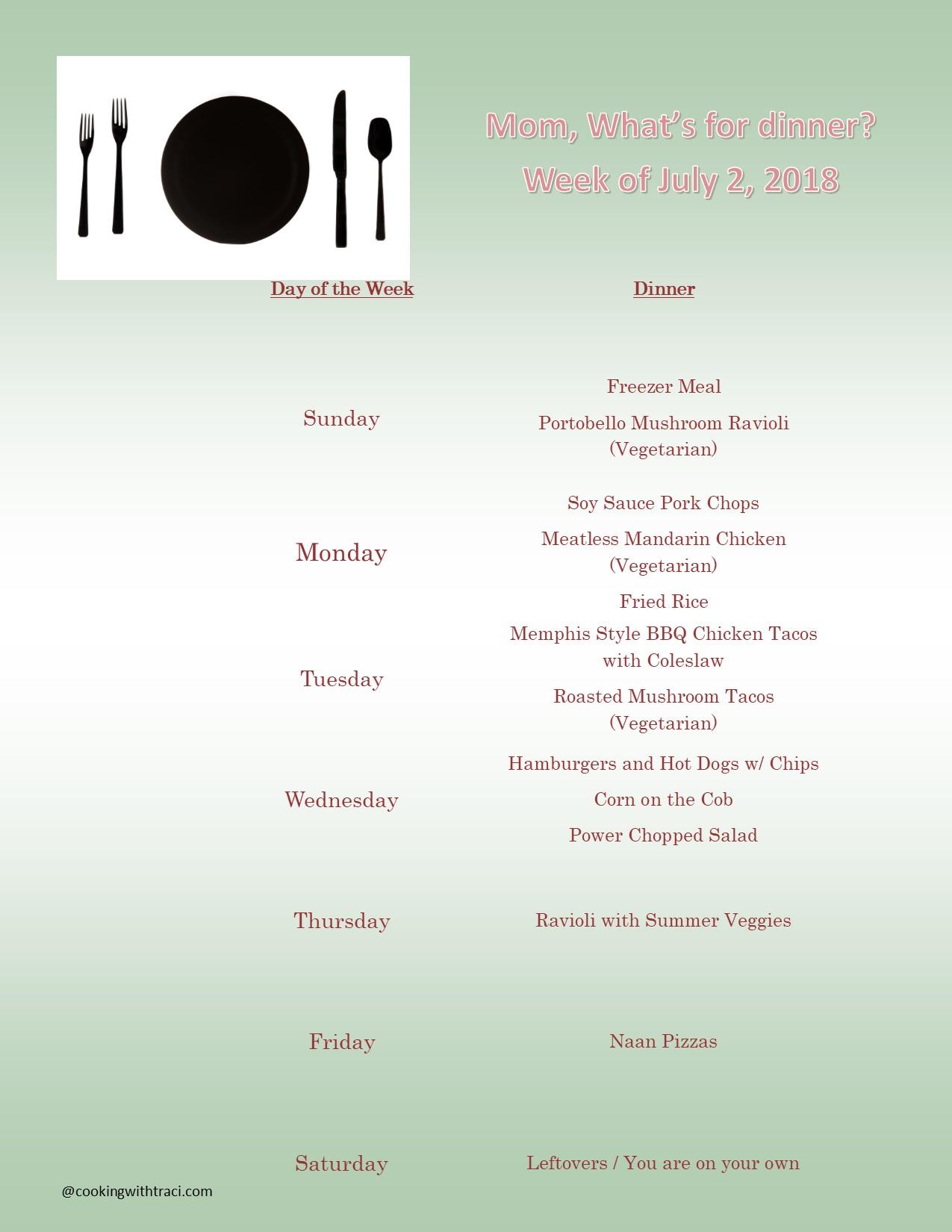 Menu Plan Monday - July 1