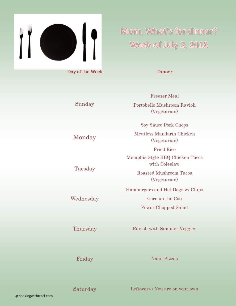Menu Plan Monday - July 1