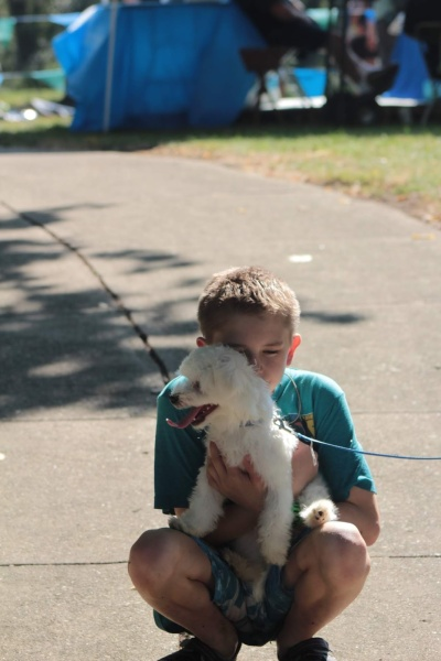 Wee One and dog